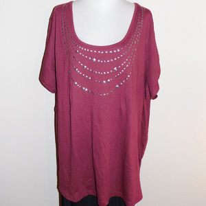 5X Woman Within Burgandy Silver Short Slv Knit Top